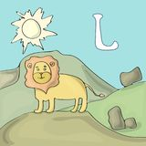 Geïllustreerde Alfabetbrief L en Leeuw ABC-het vectorbeeldverhaal van het boekbeeld Een leeuw bevindt zich op een heuvel in safar stock illustratie