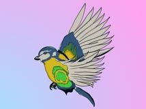 Geïllustreerde die papegaai in beeldverhaalstijl tijdens vlucht op bedelaars wordt gevangen royalty-vrije illustratie