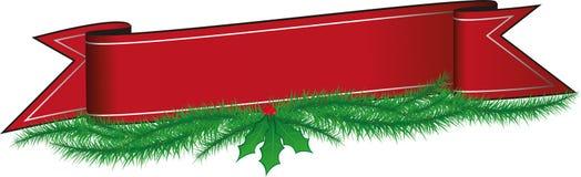 Geïllustreerde Rode Kerstmisbanner met Hulst en Pijnboomnaalden Stock Foto