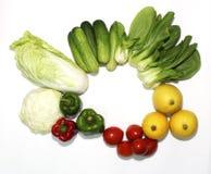 Geïllustreerde verscheidenheid van groenten op een witte achtergrond en een mooie spar, royalty-vrije stock afbeelding