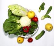 Geïllustreerde verscheidenheid van groenten op een witte achtergrond en een mooie spar, royalty-vrije stock foto