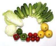 Geïllustreerde verscheidenheid van groenten op een witte achtergrond en een mooie spar, royalty-vrije stock foto's