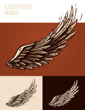 Geïllustreerde vleugels royalty-vrije illustratie