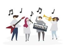 Geïllustreerde vrienden die muziek samen spelen royalty-vrije illustratie