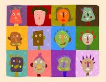 GeïllustreerdeA gezichten royalty-vrije illustratie