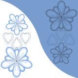 Geïllustreerdeg bloemen en harten Royalty-vrije Stock Afbeeldingen