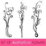 Geïllustreerdei leuke bloemen Stock Foto's