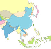 Geïllustreerdeo Kaart van Azië Royalty-vrije Stock Afbeeldingen