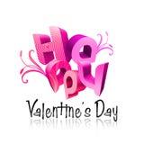 Geïllustreerder de Dag van de gelukkige Valentijnskaart typt III Roze Stock Afbeeldingen