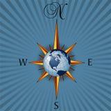 Geïllustreerdn globaal kompas Stock Afbeeldingen