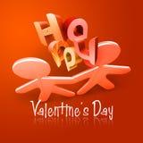 Geïllustreerdn Paar I van de gelukkige Valentijnskaart Dag Royalty-vrije Stock Afbeeldingen