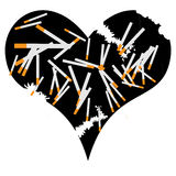 Geïllustreerdt hart en het roken Royalty-vrije Stock Foto's