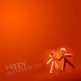 Geïllustreerdw Paar IX van de gelukkige Valentijnskaart Dag Stock Fotografie