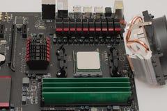 Geïnstalleerd RAM op motherboard stock afbeelding