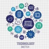 Geïntegreerde de schetspictogrammen van de technologiehand tekening royalty-vrije illustratie