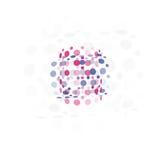 Geïsoleerd abstract ongebruikelijk die vormembleem van bellen, logotype op witte vectorillustratie wordt gestippeld als achtergro Stock Foto's