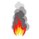 Geïsoleerd abstract rood en oranje de vlamembleem van de kleurenbrand op witte achtergrond Kampvuur logotype Kruidig voedselsymbo Royalty-vrije Stock Afbeeldingen