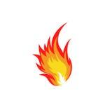 Geïsoleerd abstract rood en oranje de vlamembleem van de kleurenbrand op witte achtergrond Kampvuur logotype Kruidig voedselsymbo Stock Foto