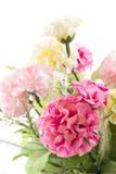 Geïsoleerd beeld van de valse bloem met vaas op witte achtergrond stock foto