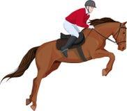 Geïsoleerd beeld van het springen paard en jokey vector illustratie