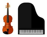 Geïsoleerd beeld van viool en grote piano Royalty-vrije Stock Afbeeldingen