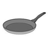 Geïsoleerd Bradend Pan Cartoon Drawing Stock Foto's