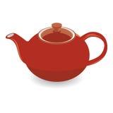 Geïsoleerd Bruin Clay Tea Pot, Vectorillustratie Stock Fotografie