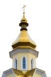 Geïsoleerd Christian Orthodox Yellow Church met Gouden Koepel en C Stock Afbeelding