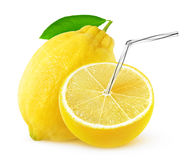 Geïsoleerd citroensap stock foto's