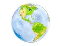 Geïsoleerd Costa Rica op bol Stock Afbeeldingen