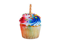 Geïsoleerd cupcake verfraaid voor Vierde van Juli-vakantie stock foto