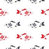 Geïsoleerd de karper naadloos patroon van vissencrucian, stock illustratie