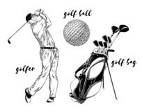 Geïsoleerd die golf op witte achtergrond wordt geplaatst Hand-drawn elementen zoals golfspeler, golfbal en golfzak Vector illustr vector illustratie