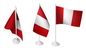 Geïsoleerd 3 die Klein Bureau Peru Flag 3d Realistisch Peru Desk Flag golven Stock Afbeelding