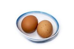 Geïsoleerd Ei en Japanse rijstkom Royalty-vrije Stock Afbeeldingen