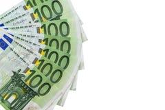 Geïsoleerd 100 euro bankbiljetten Stock Afbeeldingen