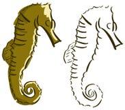 Geïsoleerd gestileerd seahorse Stock Fotografie
