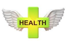 Geïsoleerd gezondheidskruis met engelachtig vleugelsvervoer op wit royalty-vrije illustratie