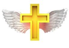 Geïsoleerd gouden kruis met engelachtig vleugelsvervoer op wit stock illustratie