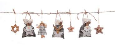 Geïsoleerd grijs, wit en sinaasappel geïsoleerd hangend Kerstmisdecor Stock Foto's