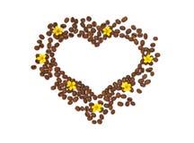 Geïsoleerd hart van de korrel met gele bloemen Stock Foto