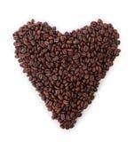 Geïsoleerd hart van koffiebonen Royalty-vrije Stock Fotografie