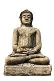 Geïsoleerd - het Standbeeld van Boedha, Oude Chedi in Wat Phra die Hariphunc Stock Fotografie