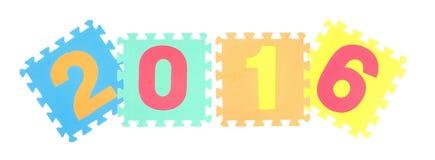 geïsoleerd het woordraadsel van 2016 Stock Foto
