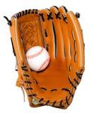 Geïsoleerd honkbal en Handschoen Stock Fotografie