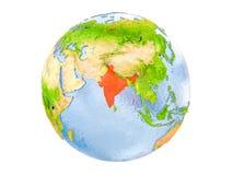 Geïsoleerd India op bol Stock Afbeelding