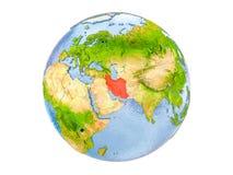 Geïsoleerd Iran op bol Stock Foto's