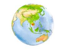 Geïsoleerd Kambodja op bol Stock Afbeeldingen