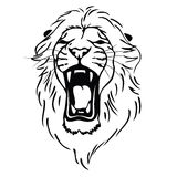 Geïsoleerd= leeuwhoofd als symbool, teken, embleem Royalty-vrije Stock Afbeeldingen