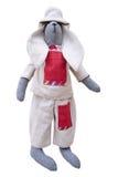 Geïsoleerd met de hand gemaakt poppenkonijntje in homespun jasje, broek met putje Royalty-vrije Stock Afbeeldingen